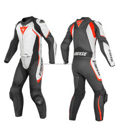 One Piece Black And White Premium Quality Cow Grain Leather Ce Armours protective Motorcycle Suit in Premium Quality