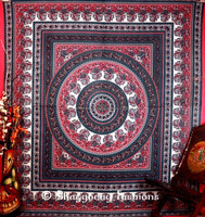 Indian Tapestry Home Decor Hippie Hippy Mandala Throw Cotton Tapestry Dorm Wall Hangings Ethnic Queen Bohemian Bedspread