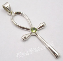 925 Solid Silver Amazing PERIDOT WELL MADE ANKH CROSS Pendant 2 3/8 inches NEW