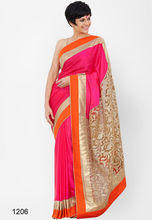 Indian exclusive wedding satin chiffon bridal saree/pink and golden heavy bordered Saree with designer pallu