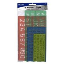 BAZIC 10, 17, 20, 27mm Size Lettering Stencil Sets (4/Pk)