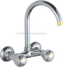Factory Supplier, double handle wall mounted Brass sink Faucet, Sanitary ware,Bathroom Accessories ZAT-GL0192