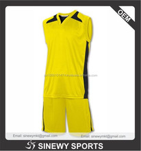 100% Polyester Cut and Sew Dry Fit Basketball Uniform color yellow