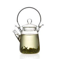 Brand New 350ml/12oz Glass Teapot Handle Heat Resistant For Blooming Oolong Black Tea Best Promotion!!
