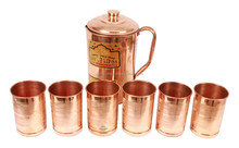 Handmade Pure Copper Jug Pitcher with 6 Copper Glass Cup Indian Ayurveda Health