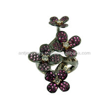 Blossom flower ring: 18K gold and black diamond and ruby-NDNH-289
