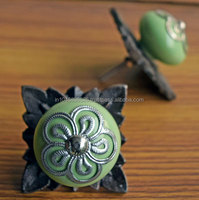 Shabby Chic Green Ceramic Knobs for Cabinets with Hand Crafted Antique Metal Backplate