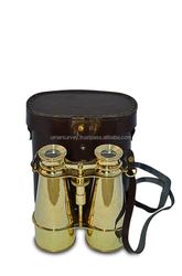 Vintage Full Brass Nautical Binocular with Leather Case