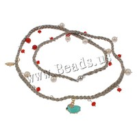 with Velveteen Cord & Natural Coral & Crystal & Zinc Alloy Freshwater Pearl Sweater Chain Necklace