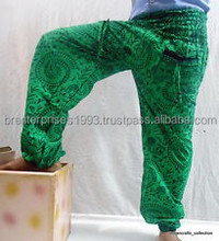 Green Cotton Printed Unique Pattern Trouser / Harem pants manufacturer from Jaipur