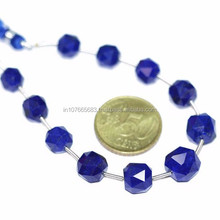 Dark Blue Lapis Luzuli Rose Cut Faceted Round Ball Beads Strand