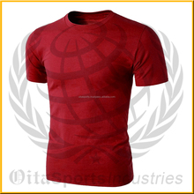 95% cotton 5% elastane round neck & short sleeves slim fitted dark red color fitness bodybuilding gym t-shirt tee S-5XL