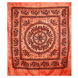 Orange coloured Bohemian Mandala elephant Wall Decor Tapestry Queen Size Hippie