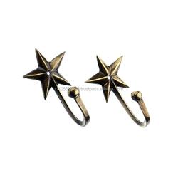 Antique Brass Star Coat Hooks For Home Decor