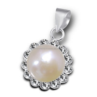 Natural Pearl with Clear Tiny Crystal Gems Wholesale Price Pearl Jewelry .925 Sterling Silver Necklace Pendant