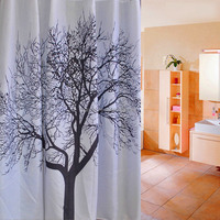 Top Quality 180x180cm Waterproof Black Scenery Tree Design White Fabric Bathroom Shower Curtain Liner Hooks Polyester