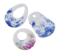 Porcelain Pendant printing with wer tern & mixed 35-48x36-50x5-8mm Hole:Appr 25x16mm 4mm 14mm 30PCs/Lot Sold By Lot