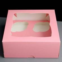 4 cavity cupcake box, 6 corners box, pink box
