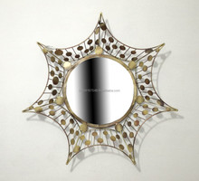 Metal Frame decorative wall mirror for home decor round shape