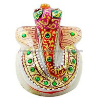 Hand Painted Decorative Beautiful Lord Ganesha Solid Marble Home Decor CD480A