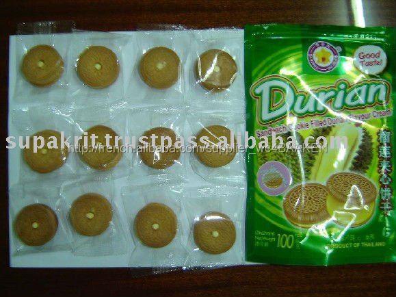 Thai petit biscuit Sandwich rempli de Durian crème