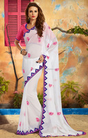 ADORABLE DESIGNER WHITE SAREE WITH PURPLE MIRROR WORK BORDER WITH BUTTA WORK AND DESIGNER PINK BLOUSE