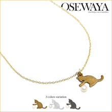 trendy design cat necklace, animal shape fashion jewelries