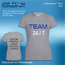 wholesale ladies womans 100% polyester custom tops t shirts