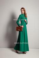 2015 new fashion long dress sleeve european style lady maxi design casual elegant women trendy modern green summer spring
