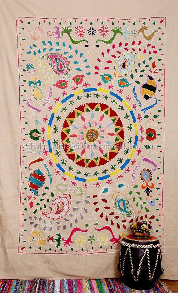 acheter en ligne suzani ouzbek broderie couvre lit arbre de vie tapisserie couverture ethnique. Black Bedroom Furniture Sets. Home Design Ideas