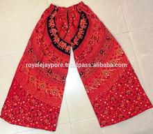 mandala estampados de algodón pantalones palazzo indio de algodón con cordón elegante pantalones