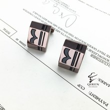 Wholesale Supply Bulk Quantity Fashion Titanium Steel Men's Cufflinks Pattern Style Business Clothing Nail