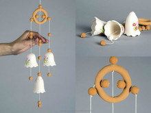 Ceramic hanging bells white and brown