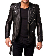 Men Leather Jacket Black Slim fit Biker Motorcycle genuine lambskin jacket