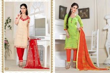 Embroidered Light Cream & Red Pant Styal Salwar Suit