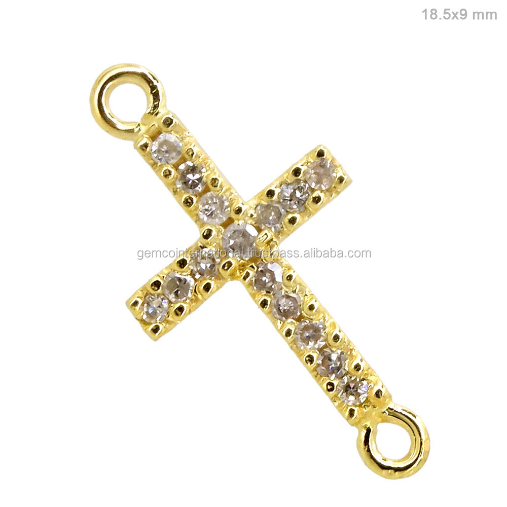 Solid yellow gold pave diamond cross connector jewelry 14k for Wholesale 14k gold jewelry distributors