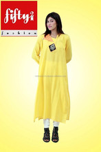 Yellow New Latest Neck Design Embroidered Kurti For Ladies