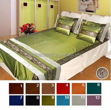 Thai Silk Bed Cover Set Ribbon Elephants