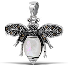 Big Ladybug Marcasite Gems White Nature Freshwater Pearl Charming Necklace Pendant .925 Sterling Silver Jewellery