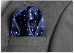 Dark Blue Dotted Checked Custom Pocket Square, Manufactoring Hankercheif,