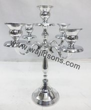 Silver finish aluminum 3 arm candelabra and 5 arms candelabra