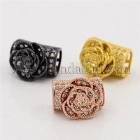 CZ Jewelry Findings Brass Micro Pave Cubic Zirconia Hollow Curved Tube Beads, Grade AAA ZIRC-M014-04-NR