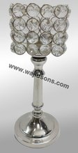 3 Sticks Aluminium Candle Holder With Crystal Beads