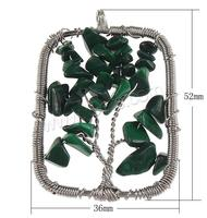 Malachite Pendants with brass wire Rectangle platinum color plated nickel lead & cadmium free 52x36mm Hole:Approx 6mm Sold By P