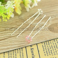 Bridal Party Wedding Decorative Hair Accessories Silver Color Iron Rhinestone Flower Hair Forks For Lady PHAR-S171-02