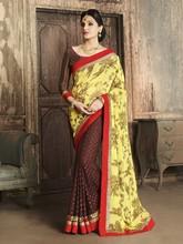 Yellow Chiffon flower Print & Georgette Jacquard Half And Half Designer Saree
