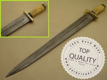 Sword by York Vivant-Custom Handmade Damascus Steel Blade Sword YV-AB103 Camel Bone & Brass Guard Handle