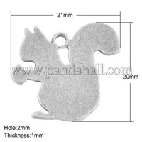 Tibetan Style Alloy Blank Stamping Tag Pendants, Lead Free, Squirrel, Antique Silver Color, 20x21x1mm, hole: 2mm