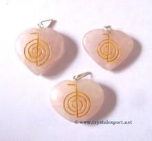 Rose Quartz Choko Reiki Heart Pendants, Gemstone Pendants, Agate Pendants