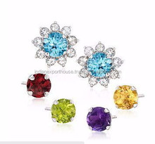2015 Fashion Royal Kate's Wedding Earrings 18K White Gold Jewelry multi Gemstone Stud Earrings IEXP1082